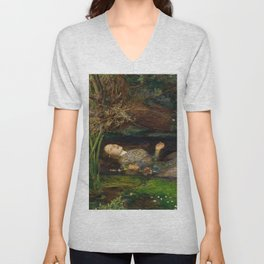 Ophelia from Hamlet Oil Painting by Sir John Everett Millais Unisex V-Neck