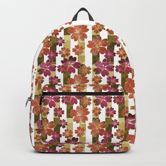 Retro . Floral pattern in yellow and brown tones . Backpack