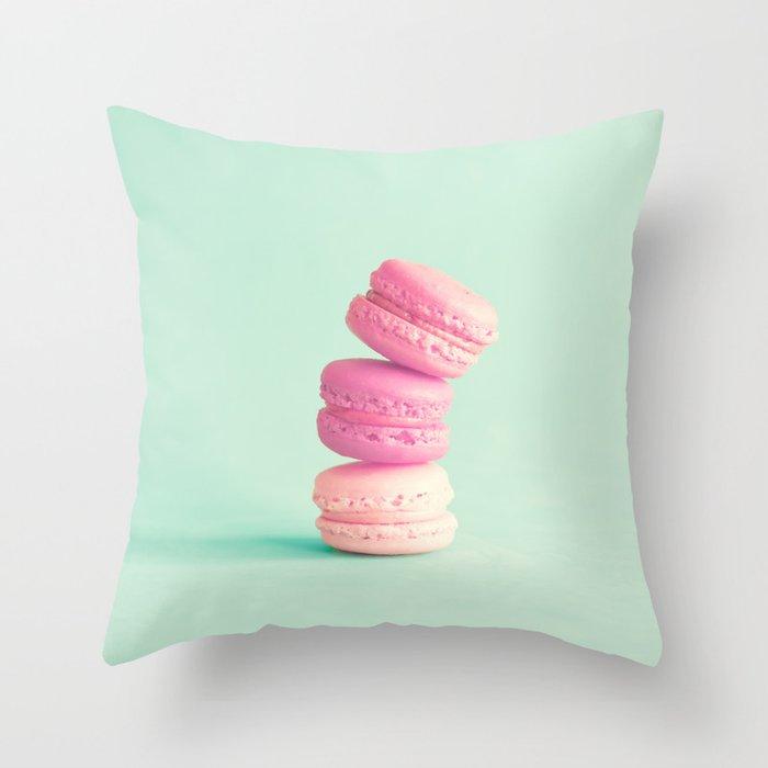 Three soft pink macaroons Throw Pillow