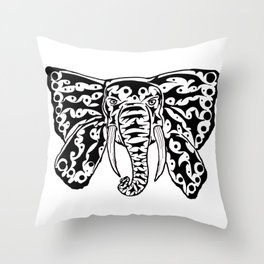 Black and White Elephant Butterfly Tribal Tattoo Throw Pillow