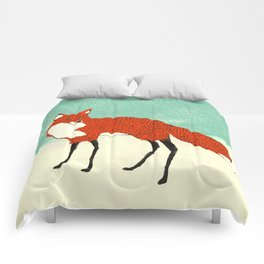Fox in the snow, Kitsune, Vintage inspired illustration Comforters