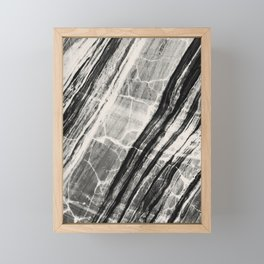 Abstract Marble - Black & Cream Framed Mini Art Print