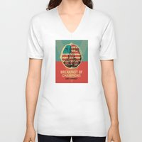 vonnegut V-neck T-shirts featuring Breakfast of Champions by Troy DeRose
