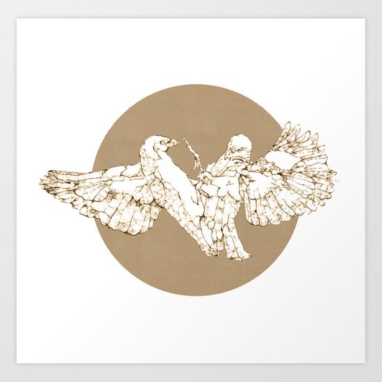 In which birds fight in a different colour Art Print