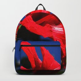 red hibiscus on dack blue Backpack