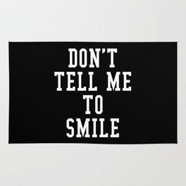 Don't Tell Me To Smile (Black & White) Rug