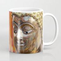 thailand Mugs featuring Thailand Buddha  by Maria Faith Garcia