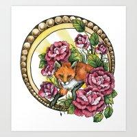 Flowery Fox Art Print