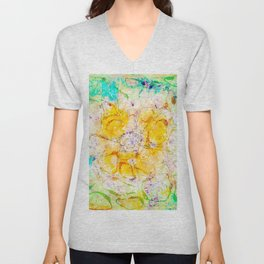 Watercolor Flower Painting, Modern Abstract  Bloom in Orange & Lime Green Unisex V-Neck