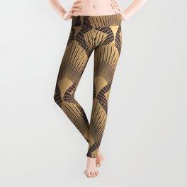 Art Deco Pattern. Seamless golden background. Scales geometric design. Vintage line design. 1920-30s motifs. Luxury vintage illustration Leggings