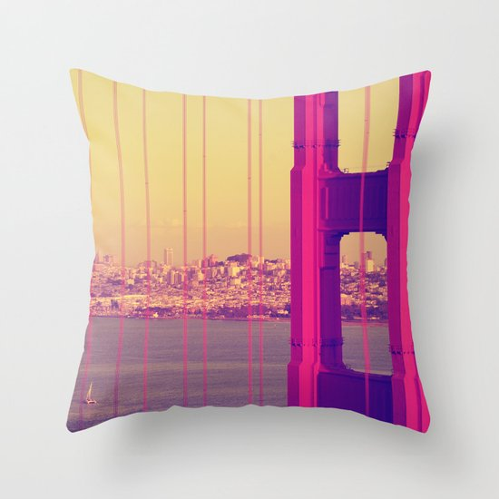 Golden Gate Into San Francisco Throw Pillow