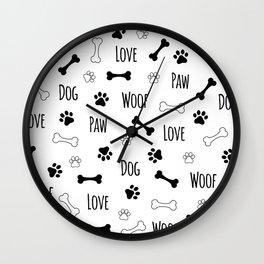 Love Dog Paw Pattern Wall Clock