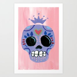 Queen Sugar Skull_Lavender Art Print