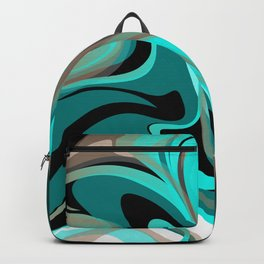 Liquify 2 - Brown, Turquoise, Teal, Black, White Backpack