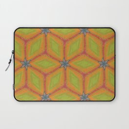 Green and Gold Tile Pattern Repeating Laptop Sleeve