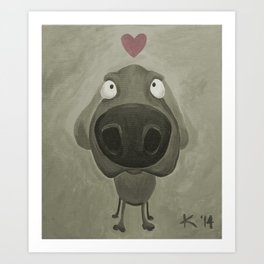Weimaraner Love - Grey Art Print