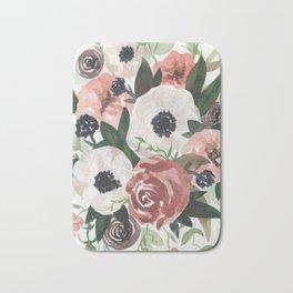 Anemone Berry Watercolor Bouquet Bath Mat