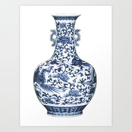 Blue & White Chinoiserie Porcelain Floral Vase with Flying Phoenix Art Print