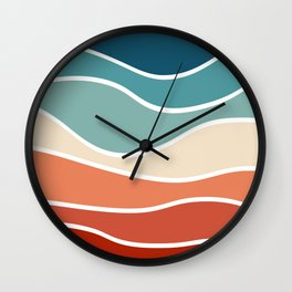 Colorful retro style waves Wall Clock