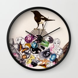 Magpie collector collage Wall Clock