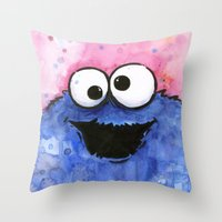 cookie Throw Pillows featuring Cookie Monster by Olechka
