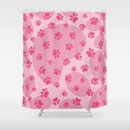 Pink Dog paw pattern. Digital illustration. Shower Curtain