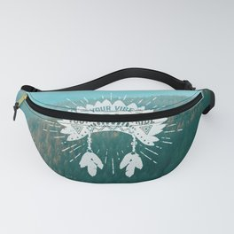 Your Vibe Attracts Your Tribe - Teal Mountains Fanny Pack