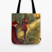 agnes cecile Tote Bags featuring Agnes - Autumn by Dawn Dudek