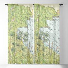 pointbreaks in paradise // lookout in raglan new zealand // retro surf art by surfy birdy Sheer Curtain