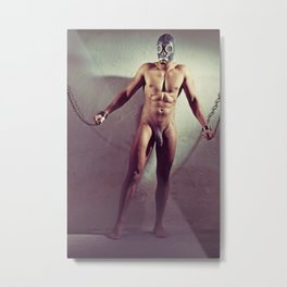 Naked man shackled with heavy iron cuffs Metal Print
