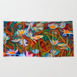 Psychedelic Daises Beach Towel