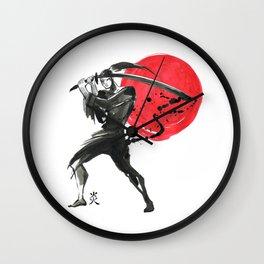 Silhouette of Samurai Wall Clock