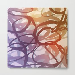 Abstract circling seeweed purple and red Metal Print