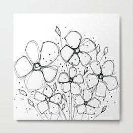 Scribble Doodle Flowers No.8A by Kathy Morton Stanion Metal Print