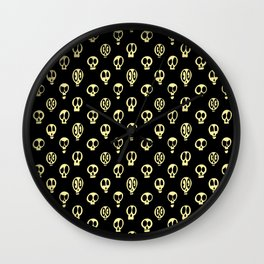 Spooky Skulls Yellow Pattern for Halloween Wall Clock