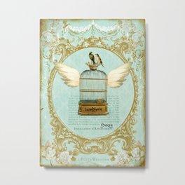 Flying Bird Cage Metal Print