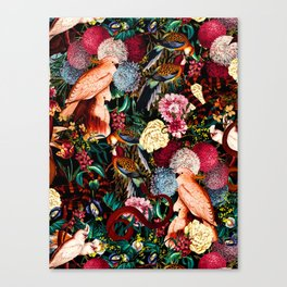 Floral and Animals pattern II Canvas Print
