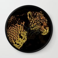 jaguar Wall Clocks featuring Jaguar by Die Farbenfluesterin