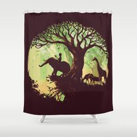 dreams Shower Curtains featuring The jungle says hello by Picomodi