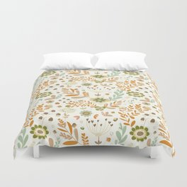 Little Creme Garden Flowers Duvet Cover