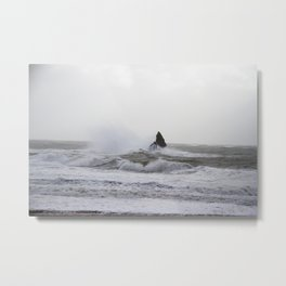A winter storm at Broadhaven South Beach in Pembrokeshire, Wales Metal Print