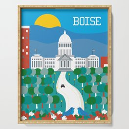 Boise, Idaho - Skyline Illustration by Loose Petals Serving Tray
