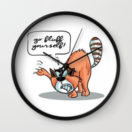 Go Fluff Yourself! - Angry Cat Wall Clock