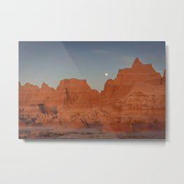 Moonsetting at Sunrise in the Badlands Metal Print