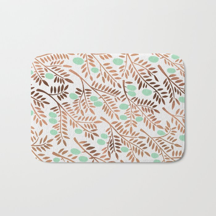 Olive Branches – Rose Gold & Mint Bath Mat