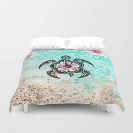 Hibiscus Turtle Duvet Cover