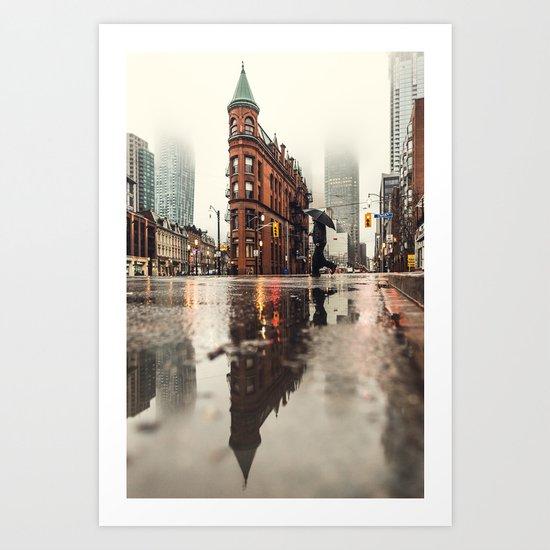 RAIN - WET - MAN - LIGHT - STREET - PHOTOGRAPHY Art Print