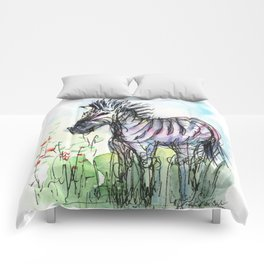 Zebra Whimsical Animal Art Comforters