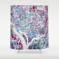 washington Shower Curtains featuring Washington map by MapMapMaps.Watercolors