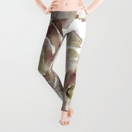 Earthy Painterly Floral Abstract Leggings